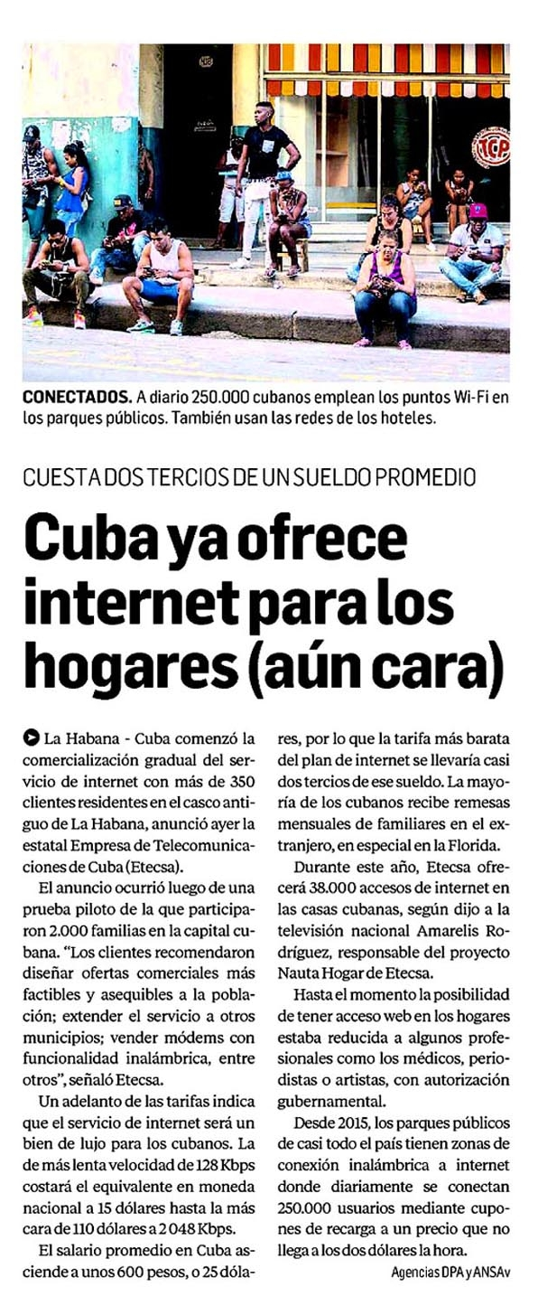 Cuba Ya Ofrece Internet Para Los Hogares A N Cara S Ntesis De Prensa Nacional